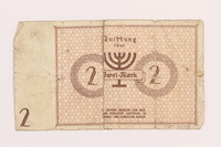 1989.207.8 back Łódź ghetto scrip, 2 mark note, acquired by a Polish Jewish survivor  Click to enlarge
