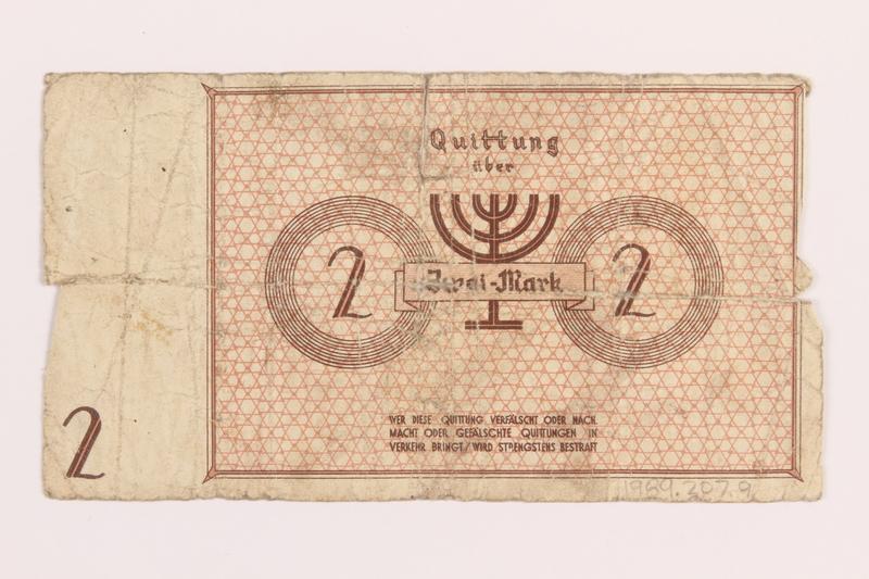 1989.207.9 back Lodz ghetto scrip, 2 mark note, acquired by a Polish Jewish survivor
