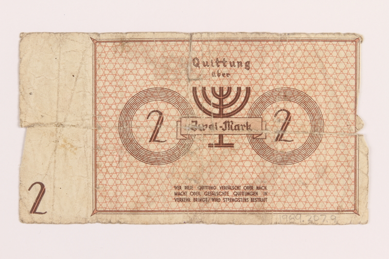 1989.207.9 back Łódź ghetto scrip, 2 mark note, acquired by a Polish Jewish survivor