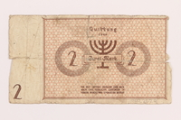 1989.207.9 back Łódź ghetto scrip, 2 mark note, acquired by a Polish Jewish survivor  Click to enlarge