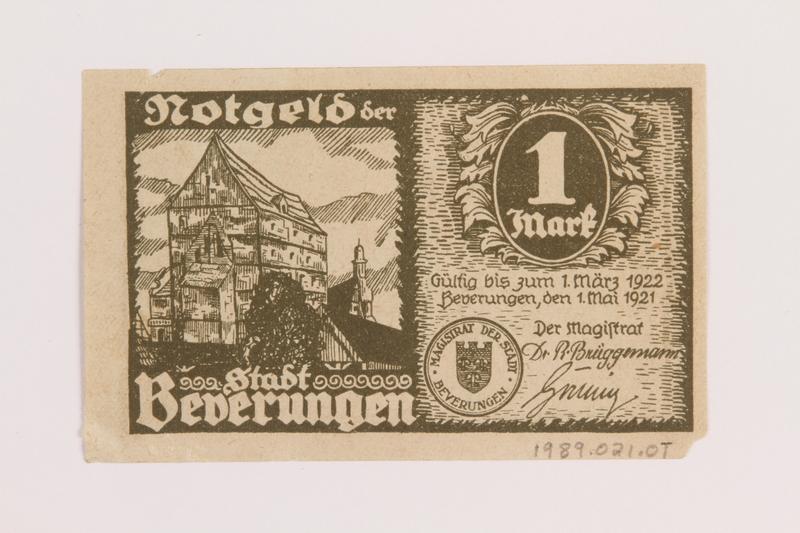 1989.21.1 back Emergency currency, 1 mark, produced postwar