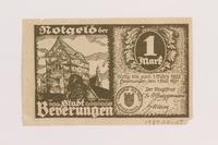 1989.21.1 back Emergency currency, 1 mark, produced postwar  Click to enlarge
