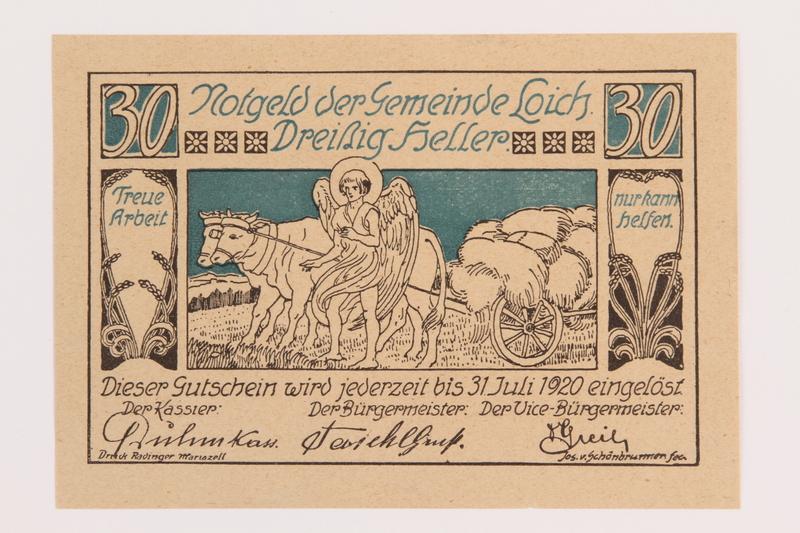 1989.21.2 front Gemeinde Loich, Austria, notgeld