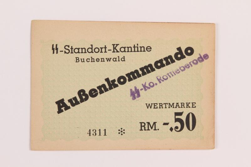 1989.21.5 front Buchenwald Aussenkommando scrip for SS Ko. Rottleberode, -.50 Reichsmark