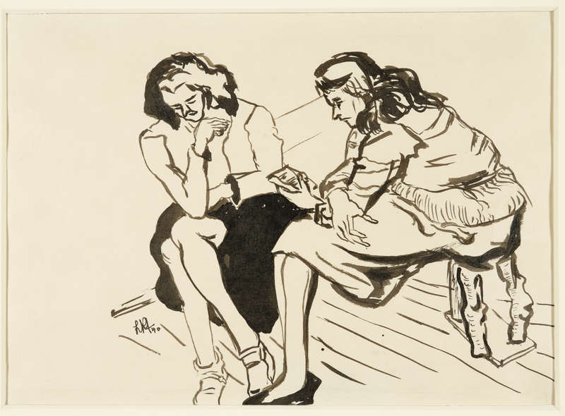 1988.1.28 front Drawing of two women sitting on stools by a German Jewish internee
