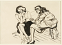 Drawing of two women sitting on stools by a German Jewish internee