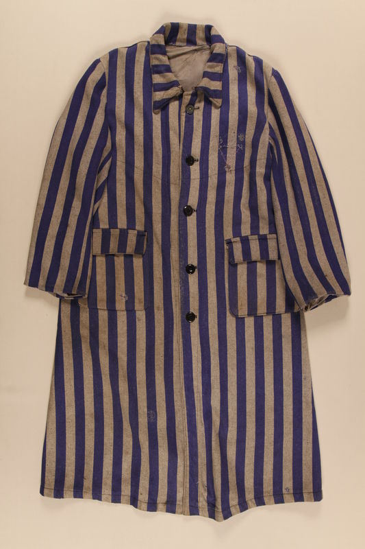 1989.235.1 front Concentration camp uniform coat worn by an Austrian Catholic inmate