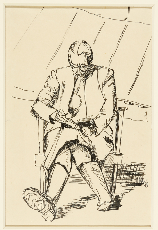 1988.1.29 front Drawing of a seated woman reading a book by a German Jewish internee