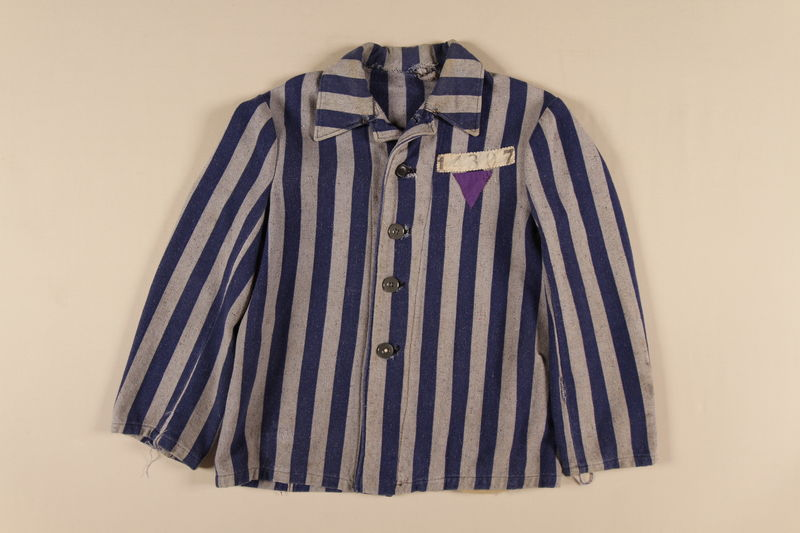 1989.248.1 front Concentration camp uniform jacket with a purple triangle worn by a Jehovah's Witness inmate