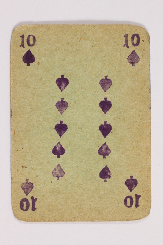 2013.379.10 d front Two decks of skat cards used by a concentration camp inmate saved by Schindler's list