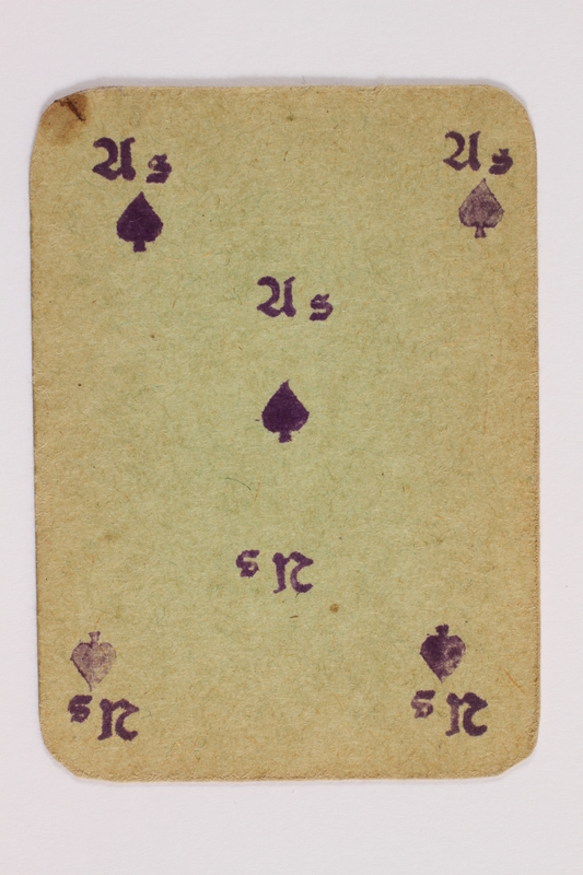 2013.379.10 e front Two decks of skat cards used by a concentration camp inmate saved by Schindler's list