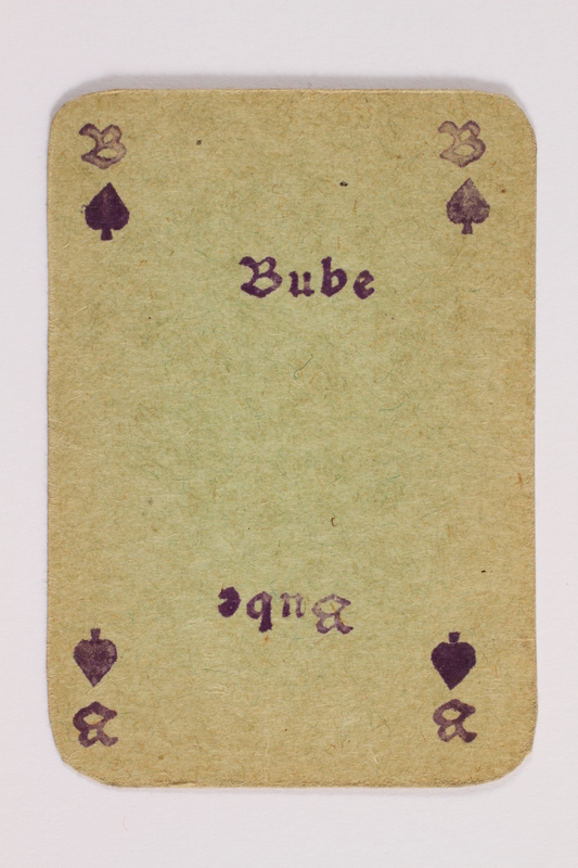 2013.379.10 f front Two decks of skat cards used by a concentration camp inmate saved by Schindler's list