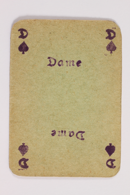 2013.379.10 g front Two decks of skat cards used by a concentration camp inmate saved by Schindler's list
