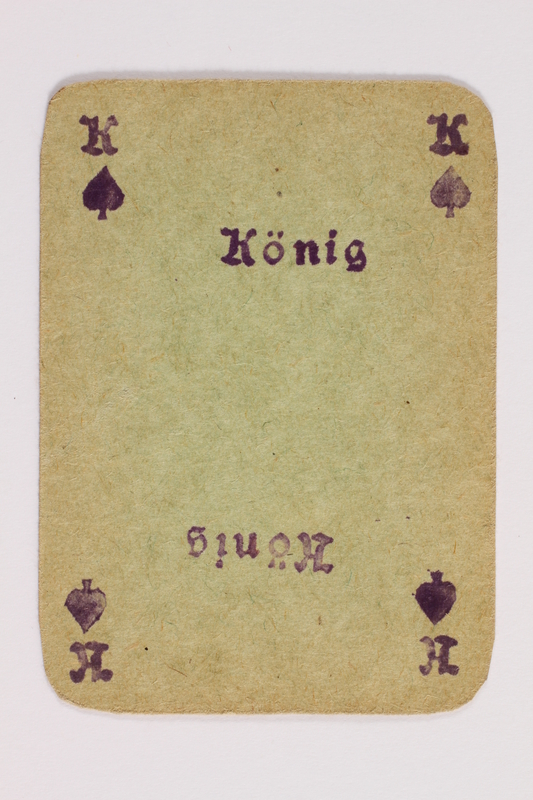 2013.379.10 h front Two decks of skat cards used by a concentration camp inmate saved by Schindler's list