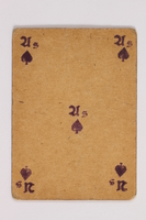 2013.379.10 p front Two decks of skat cards used by a concentration camp inmate saved by Schindler's list  Click to enlarge