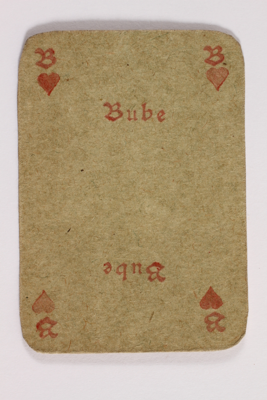 2013.379.10 u front Two decks of skat cards used by a concentration camp inmate saved by Schindler's list