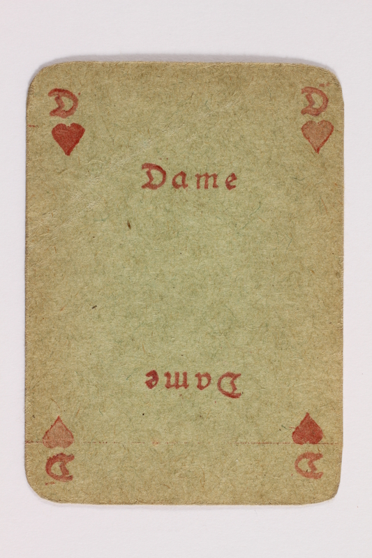 2013.379.10 v front Two decks of skat cards used by a concentration camp inmate saved by Schindler's list