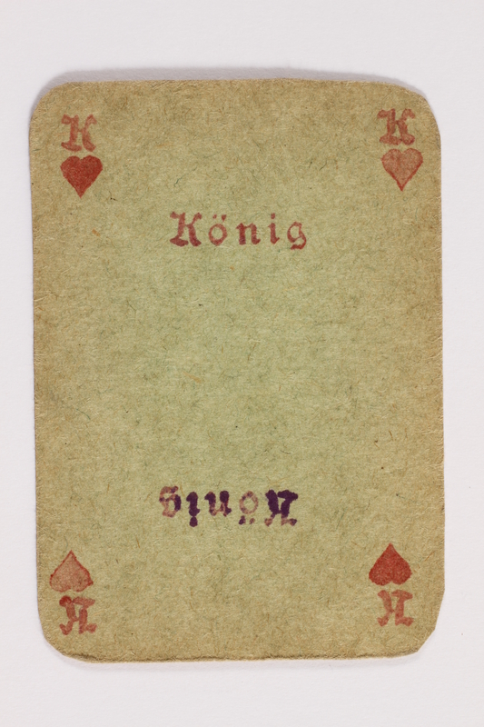 2013.379.10 w front Two decks of skat cards used by a concentration camp inmate saved by Schindler's list