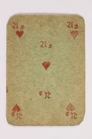 2013.379.10 x front Two decks of skat cards used by a concentration camp inmate saved by Schindler's list  Click to enlarge