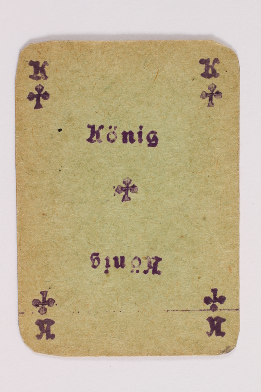 2013.379.10 ae front Two decks of skat cards used by a concentration camp inmate saved by Schindler's list