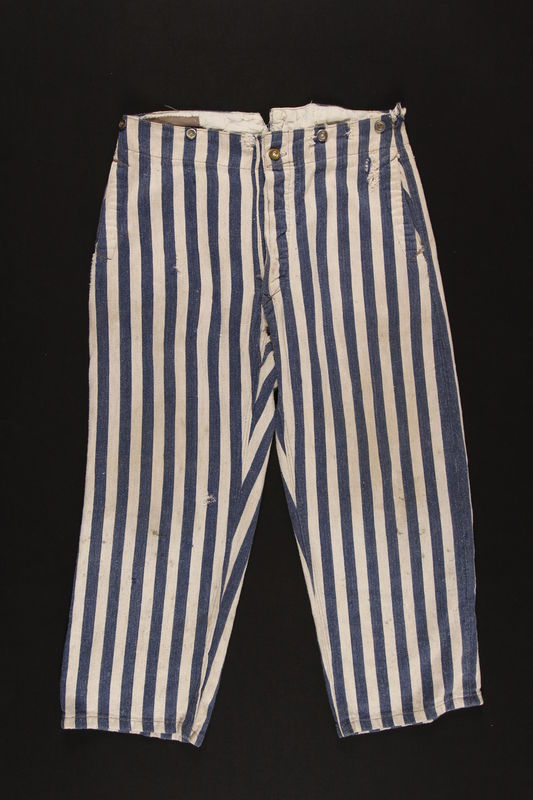 1989.248.2 front Concentration camp uniform pants worn by a Jehovah's Witness inmate