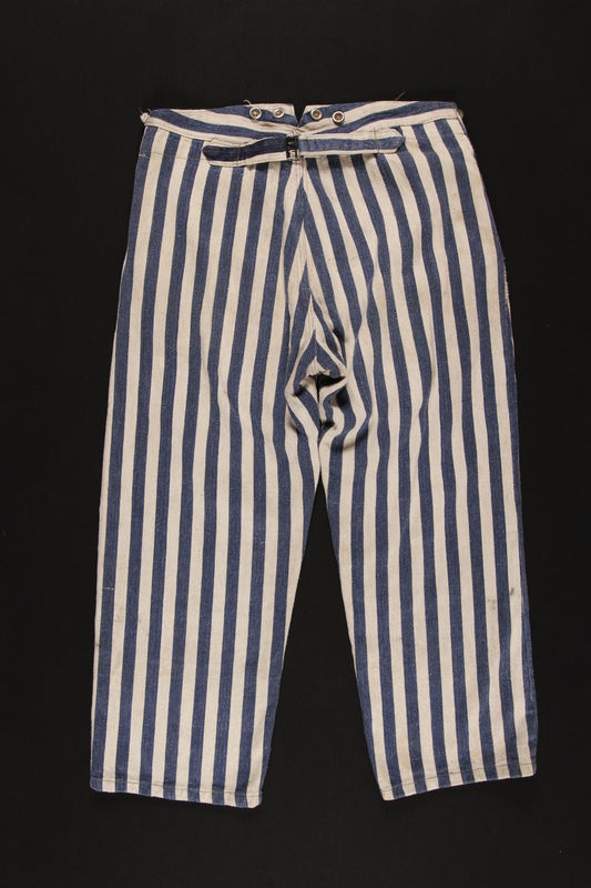 1989.248.2 back Concentration camp uniform pants worn by a Jehovah's Witness inmate