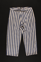 1989.248.2 back Concentration camp uniform pants worn by a Jehovah's Witness inmate  Click to enlarge