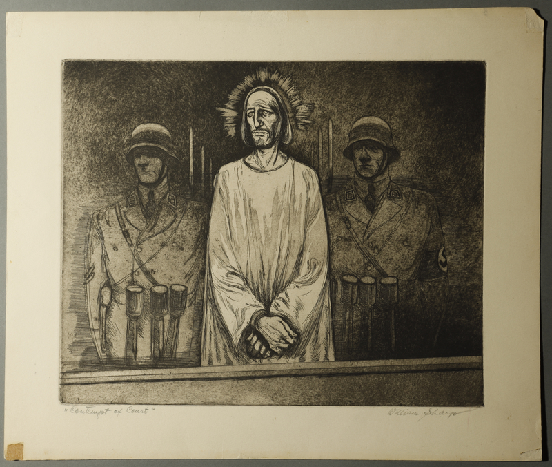 1995.132.15 front William Sharp aquatint of 2 guards and a doctor