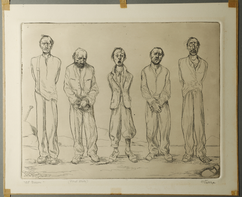 1995.132.61 front William Sharp aquatint of five prisoners tied together