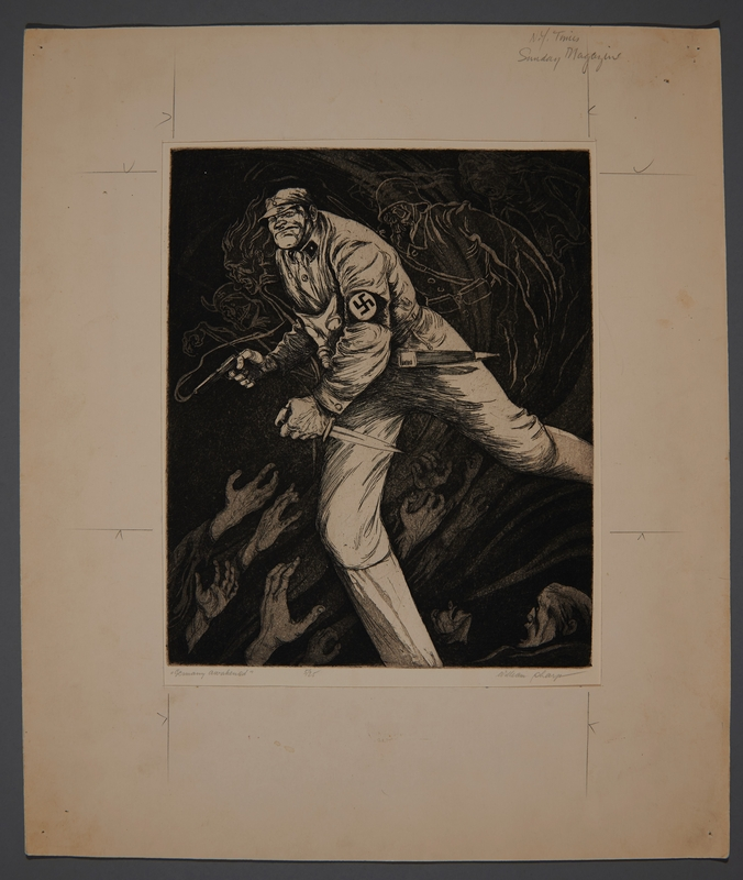 1995.132.62 front William Sharp aquatint of an armed soldier under siege