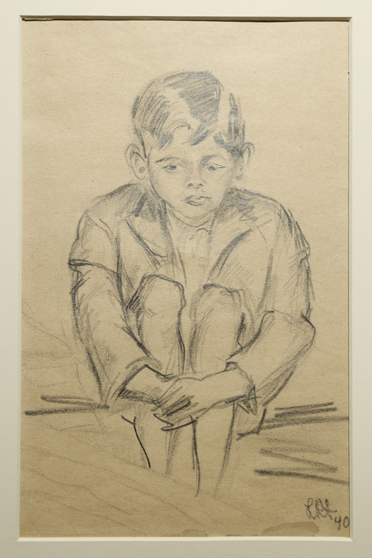 1988.1.3 front Drawing of a young male internee by a German Jewish internee