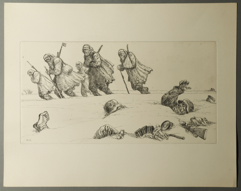 1995.133.13 front William Sharp etching of soldiers lying dead in the snow