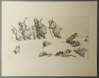1995.133.13 front William Sharp etching of soldiers lying dead in the snow  Click to enlarge