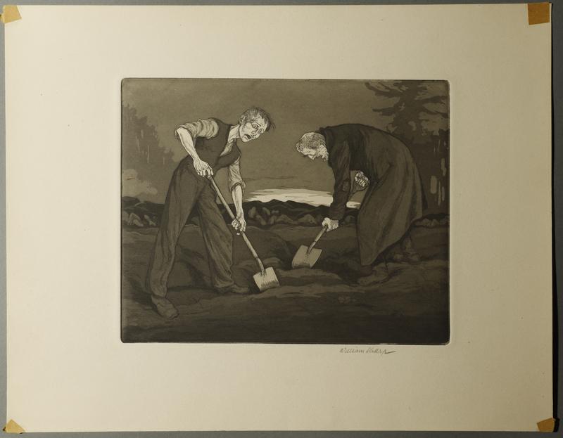 1995.133.20 front William Sharp aquatint of two men digging a grave