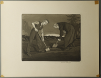 1995.133.20 front William Sharp aquatint of two men digging a grave  Click to enlarge
