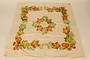 Tablecloth with a handpainted maple leaf design created by a Jewish Polish refugee in Bergen-Belsen DP camp