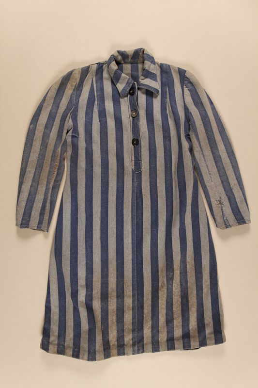 1989.263.1 front Concentration camp uniform dress worn by a Jewish Czech inmate
