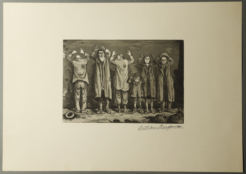 1995.133.44 front William Sharp aquatint of six people with Judenstern, hands raised in surrender