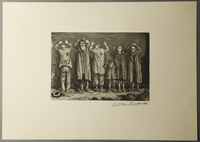 1995.133.44 front William Sharp aquatint of six people with Judenstern, hands raised in surrender  Click to enlarge