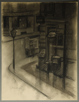 1995.133.72 front Drawing by William Sharp of a street corner  Click to enlarge