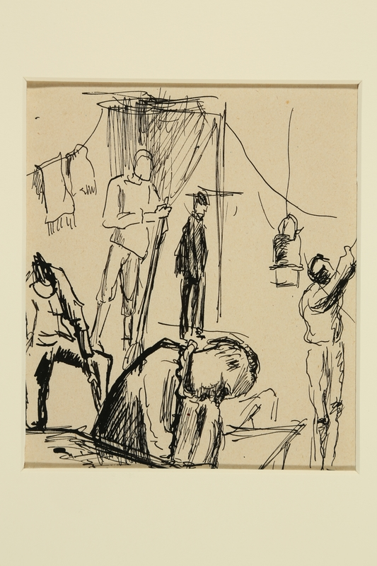 1988.1.30 front Sketch of people in an internment camp by a German Jewish internee