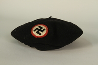 1995.142.24 front Black beret with a swastika patch  Click to enlarge