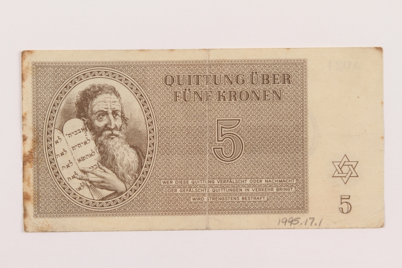 1995.17.1 front Theresienstadt ghetto-labor camp scrip, 5 kronen note, acquired by a US soldier and NRRA administrator