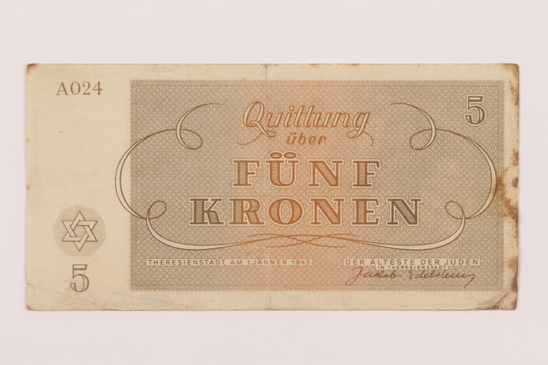 1995.17.1 back Theresienstadt ghetto-labor camp scrip, 5 kronen note, acquired by a US soldier and NRRA administrator