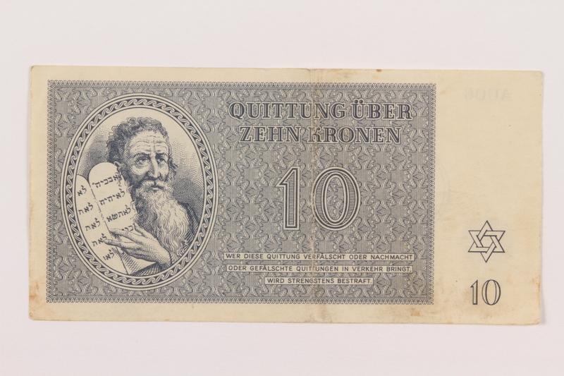 1995.19.1 front Theresienstadt ghetto-labor camp scrip, 10 kronen note