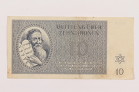 1995.19.1 front Theresienstadt ghetto-labor camp scrip, 10 kronen note  Click to enlarge