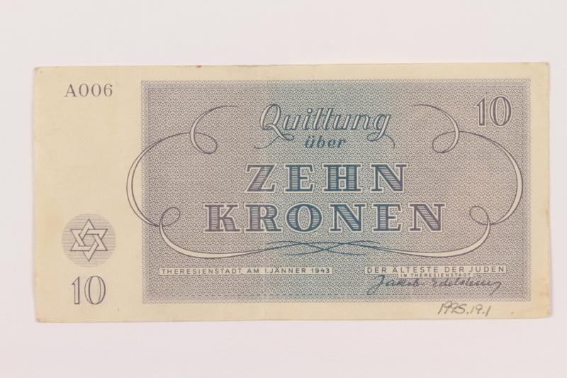1995.19.1 back Theresienstadt ghetto-labor camp scrip, 10 kronen note