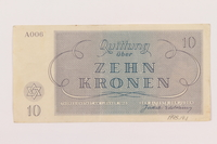 1995.19.1 back Theresienstadt ghetto-labor camp scrip, 10 kronen note  Click to enlarge