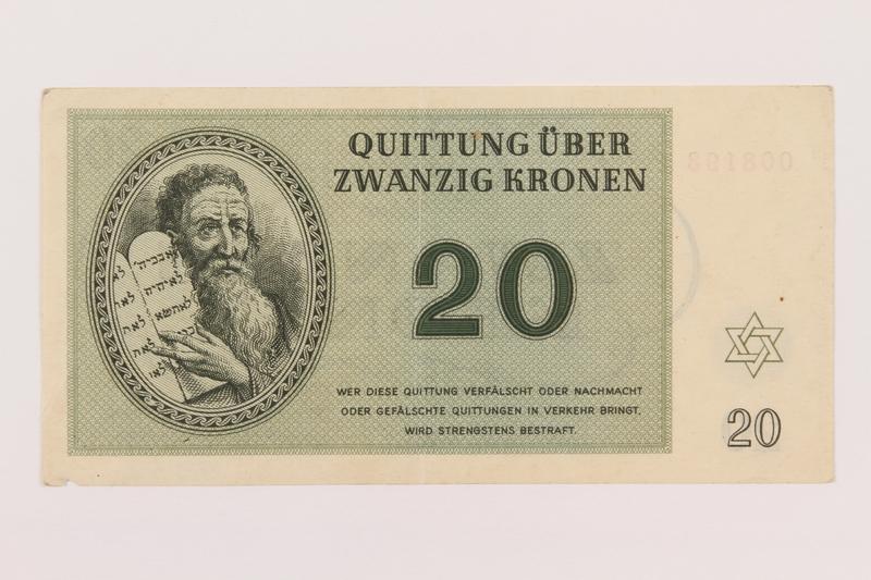 1995.19.2 front Theresienstadt ghetto-labor camp scrip, 20 kronen note