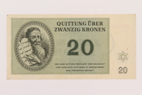1995.19.2 front Theresienstadt ghetto-labor camp scrip, 20 kronen note  Click to enlarge